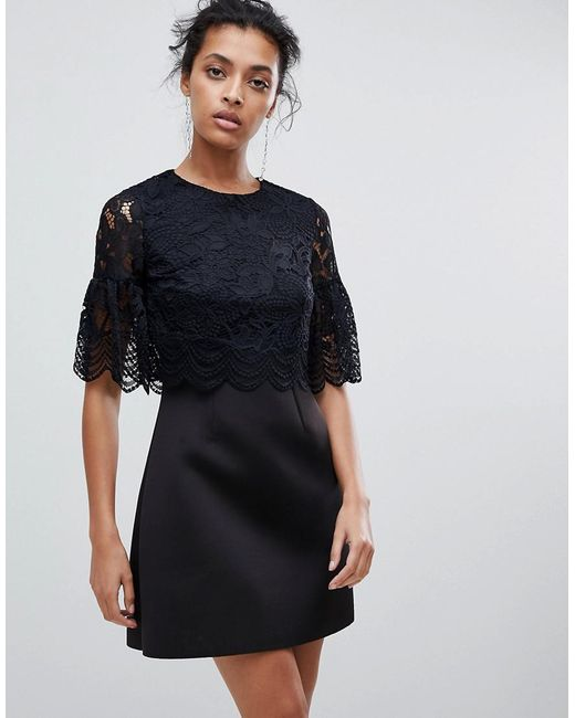 ASOS - Black Lace Crop Top Scallop Mini Dress - Lyst