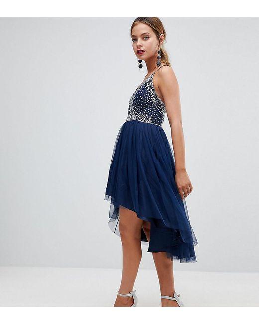 ASOS - Blue Ballerina Mesh Sparkle Tulle Midi Dress - Lyst
