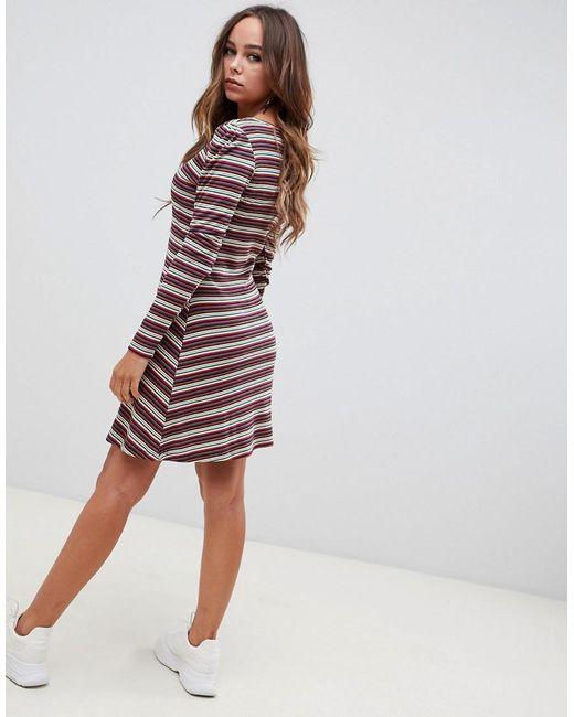 6abfbbf759 ... ASOS - Multicolor Stripe Rib Mini Skater Dress With Button Front - Lyst