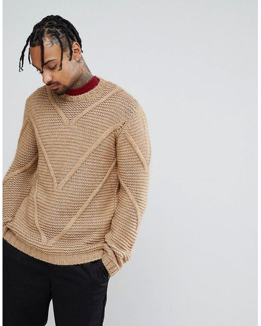 ASOS - Brown Asos Knitted Midweight Textured Jumper With Cable Panels for Men - Lyst