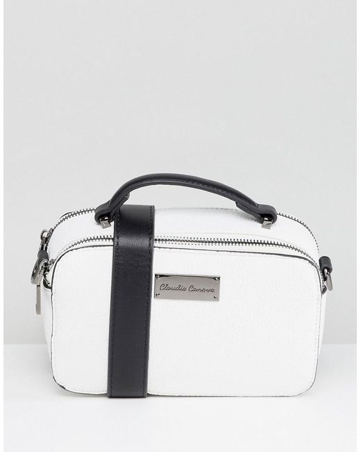Claudia Canova - White Structured Double Zip Crossbody Bag - Lyst