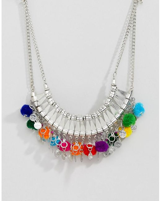 ASOS - Metallic Statement Engraved Collar Necklace With Pom Poms - Lyst