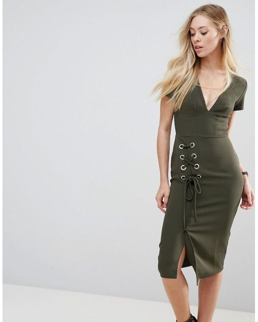 ASOS Green Asos Midi Dress With Lace Up