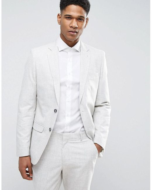 New Look | Gray Suit Jacket With Crosshatch Detail In Off White for Men | Lyst