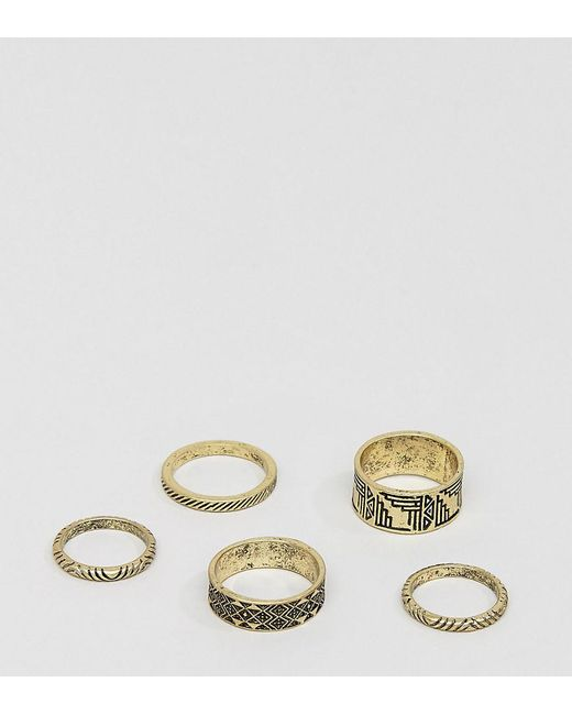 ASOS | Metallic Ring Pack In Burnished Gold With Embossed Design | Lyst