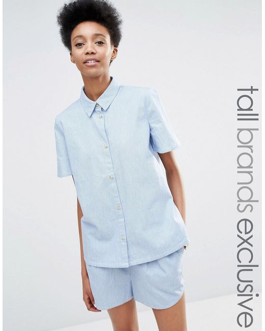Adpt short sleeve chambray co ord shirt in blue lyst for Short sleeve chambray shirt women
