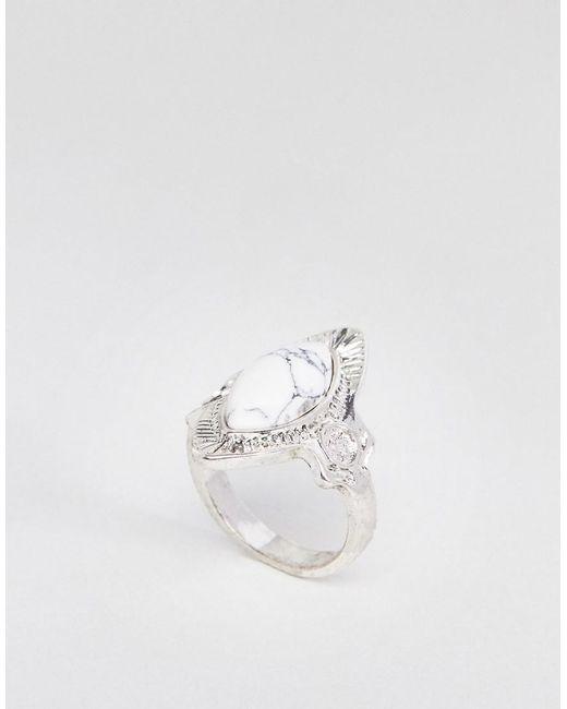 ASOS - Metallic Design Faux Marble Engraved Ring - Lyst