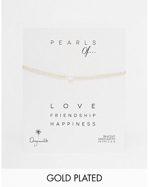 Dogeared | Metallic Gold Filled Pearls Of Love Double Chain Bracelet | Lyst