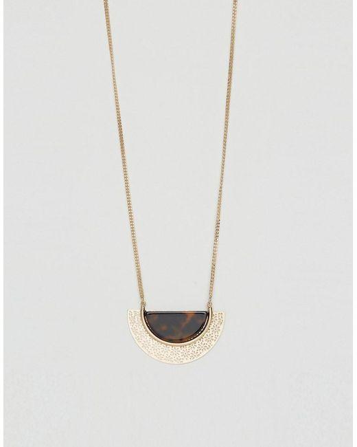 ASOS   Metallic Resin Semi Circle Long Pendant Necklace   Lyst
