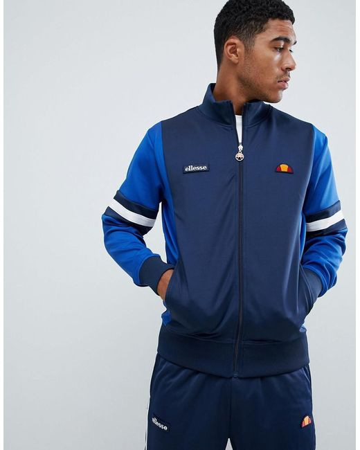 Ellesse - Blue Galturg Poly Tricot Track Jacket With Sleeve Panels In Navy for Men - Lyst