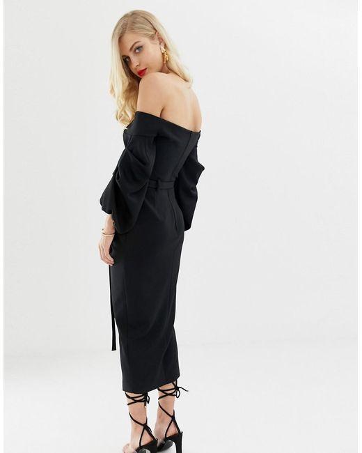 5073217623476 ... ASOS - Black Bardot Double Belted Balloon Sleeve Midi Dress - Lyst