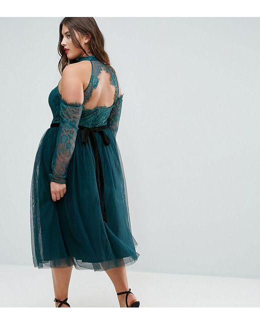 Lyst - Asos Premium Tulle Cold Shoulder Midi Prom Dress in Green
