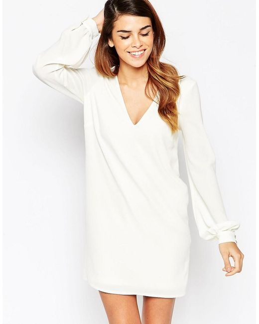 ASOS   White Shift Dress With V Front And Bell Sleeves   Lyst