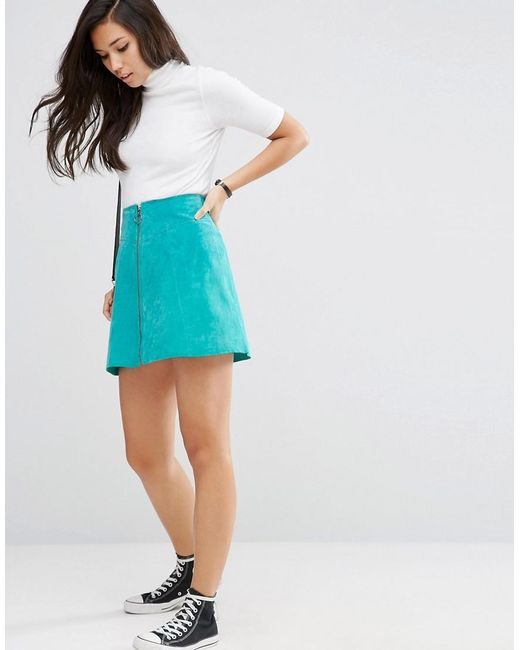 ASOS | Blue A-line Skirt In Suede With Zip Through Detail | Lyst
