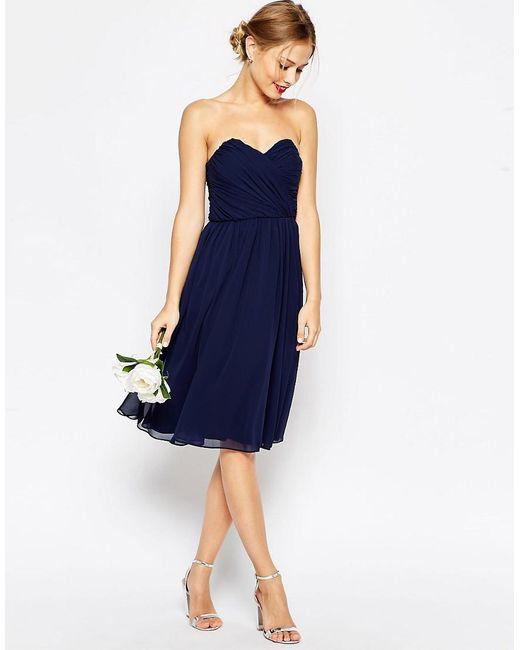 ASOS | Blue Wedding Chiffon Bandeau Midi Dress | Lyst