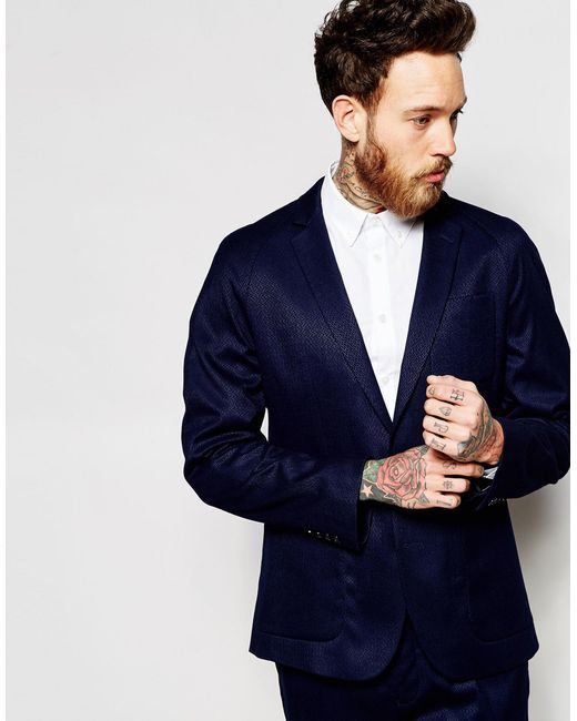 ASOS | Blue Slim Jacket In Navy - Navy for Men | Lyst