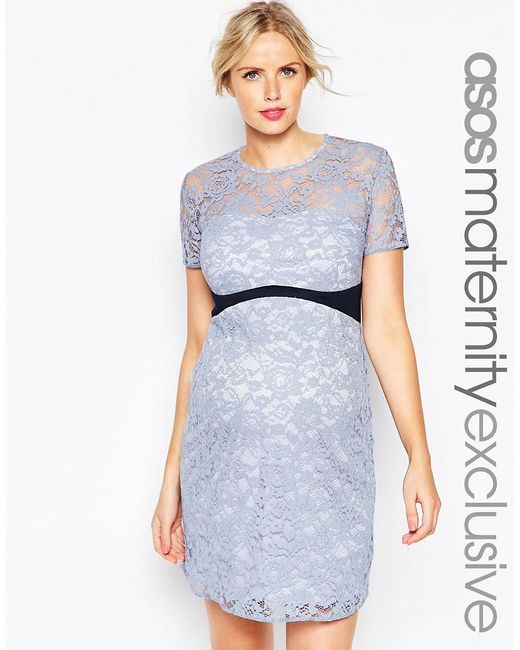 ASOS | Blue Maternity Lace Bodycon Dress With Contrast Waistband | Lyst
