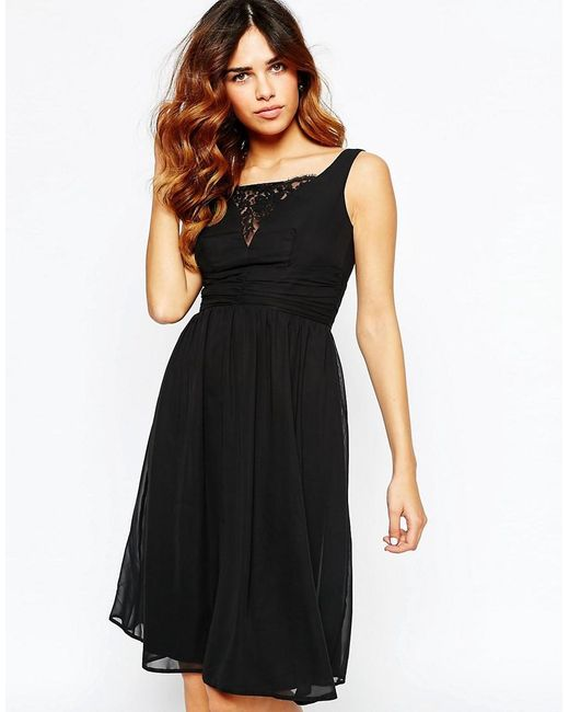 Elise Ryan | Black Ruched Midi Skater Dress With Plunge Lace Bust | Lyst