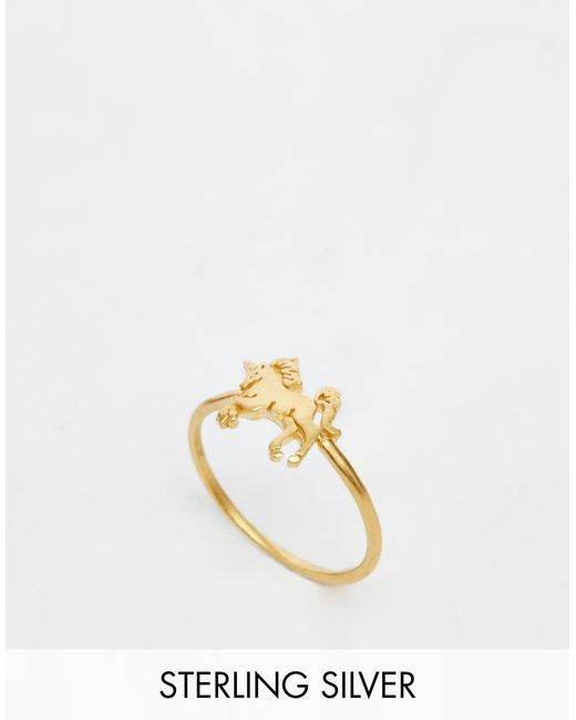 Dogeared | Metallic Gold Plated Life Is Magical Unicorn Ring | Lyst