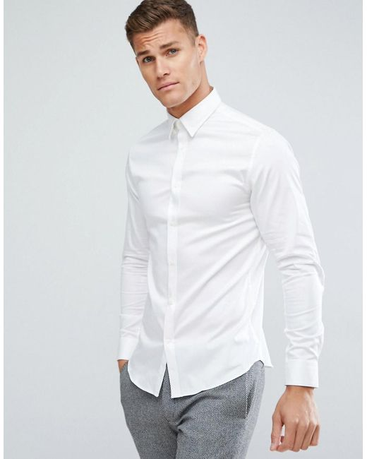 SELECTED - White Shirt With Concealed Button Down Collar In Slim Fit for  Men - Lyst ...