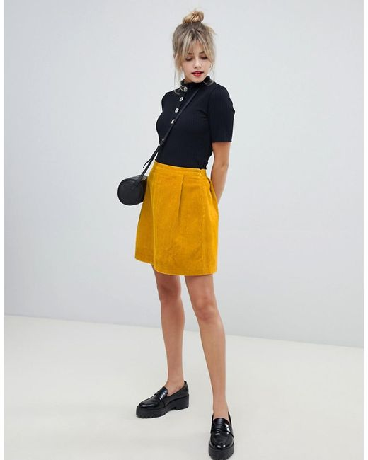 aff58a51d22006 ASOS - Yellow Tailored Cord Mini Skirt In Mustard - Lyst ...