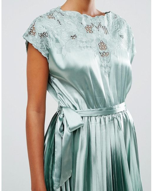 Asos Lace Top Satin Pleated Midi Dress In Green (Mint)