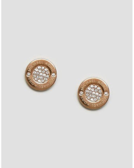Michael Kors | Metallic Rose Gold Circle Stud Earrings | Lyst