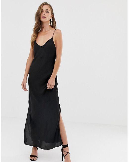 464c7fb1628d ASOS - Black Satin Cami Maxi Slip Dress - Lyst ...