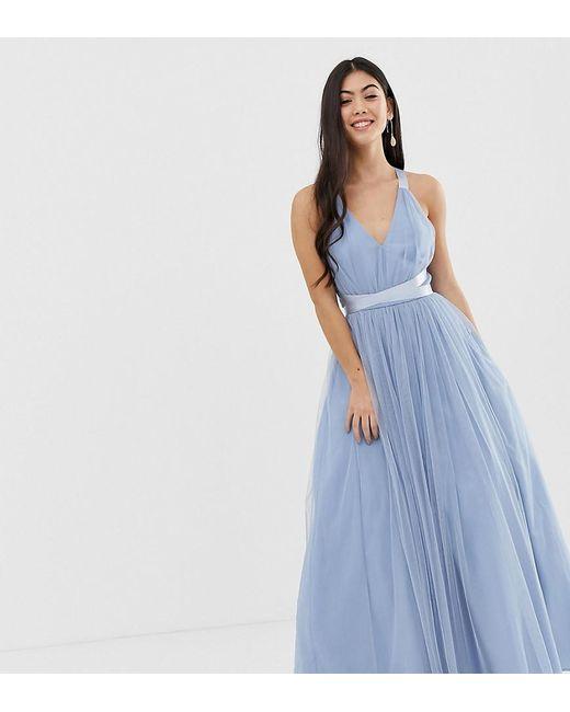 7830384b10 ASOS - Blue Asos Premium Petite Premium Tulle Maxi Prom Dress With Ribbon  Ties - Lyst ...