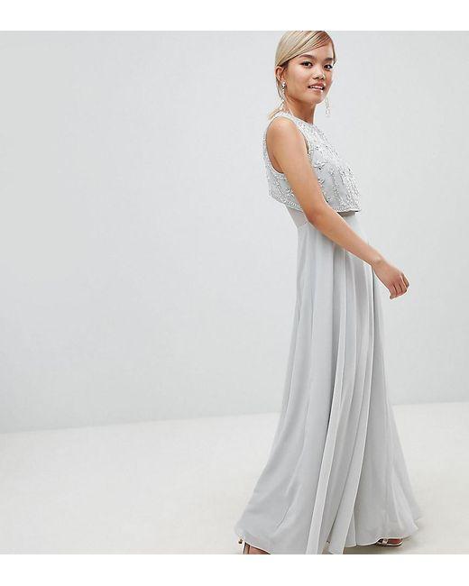989534c7998ca ASOS - Gray Asos Design Petite Star Embellished Crop Top Maxi Dress - Lyst  ...