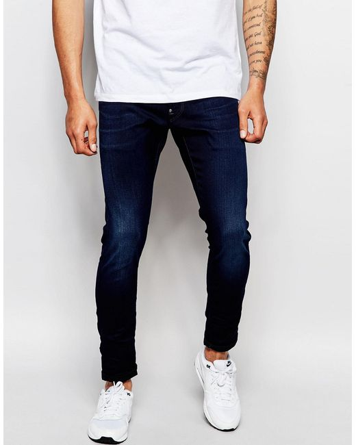 G-Star RAW | Jeans Defend Super Slim Skinny Fit Slander Indigo Superstretch Dark Aged - Blue for Men | Lyst
