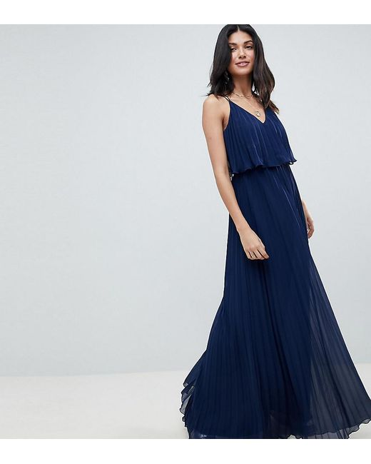 c8fe401b371b ASOS - Blue Asos Design Tall Pleated Crop Top Maxi Dress - Lyst ...