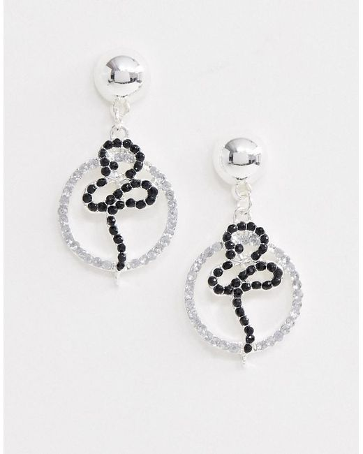 ASOS - Metallic Drop Earrings With Open Circle And Snake Design With Crystals In Silver - Lyst