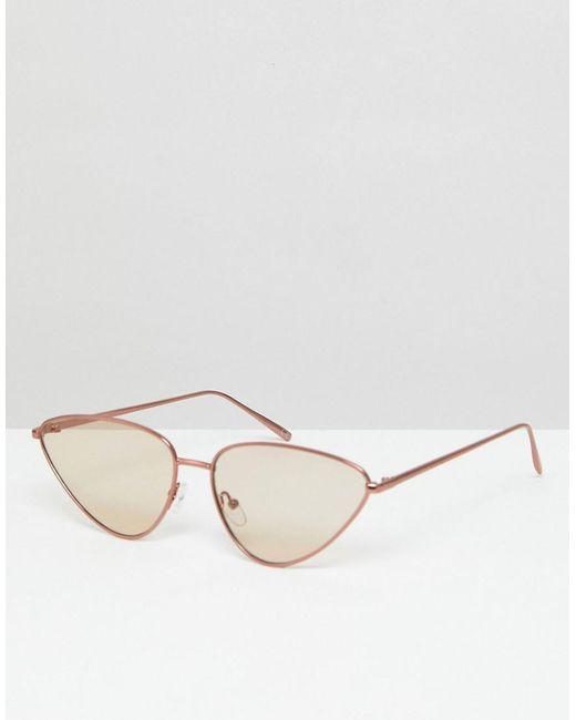 ASOS - Metal Cat Eye Sunglasses With Light Brown Lens - Lyst