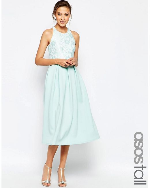 ASOS | Green Tall Lace Top Scuba Skater Midi Dress | Lyst