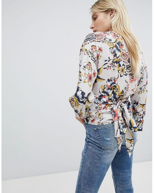Only Floral Wrap Blouse Original For Sale Sale 100% Guaranteed Low Shipping Fee Sale Online 0qYla5r