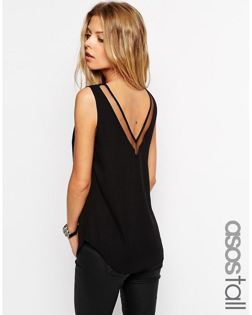 ASOS | Black Tall V Front And V Back Vest With Mesh Insert | Lyst