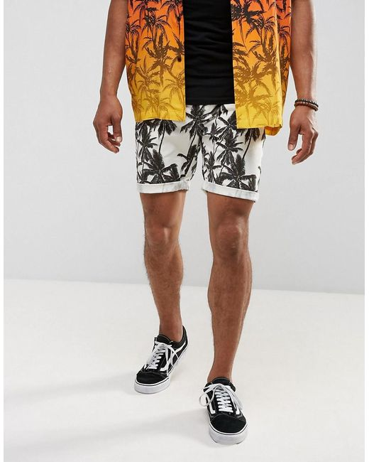 ASOS | Multicolor Festival Slim Shorts With Palm Tree Print for Men | Lyst