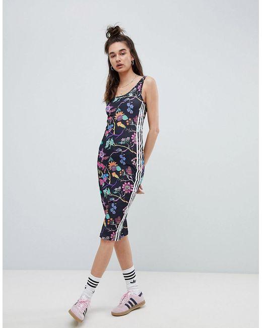 Adidas Originals - Black Robe à fleurs - Lyst ...