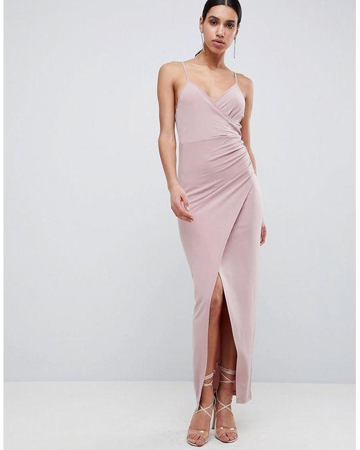 ASOS - Multicolor Slinky Drape Maxi Dress - Lyst
