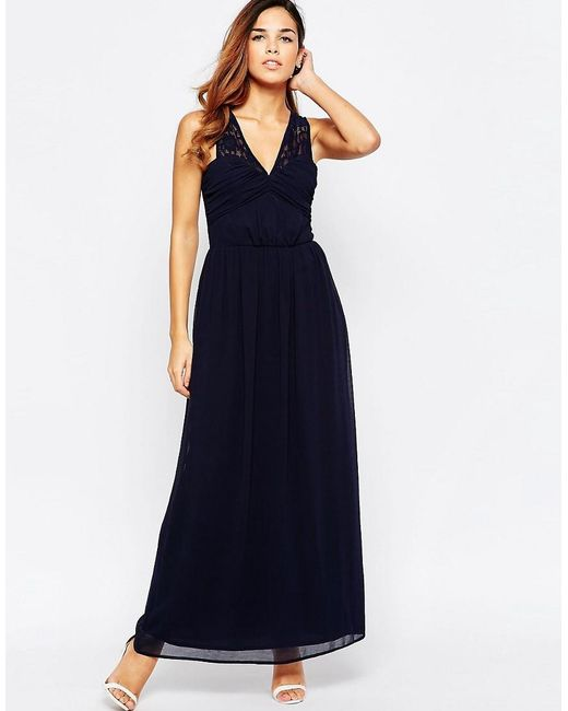Elise Ryan | Blue Ruched Maxi Dress With Open Lace Back Detail | Lyst