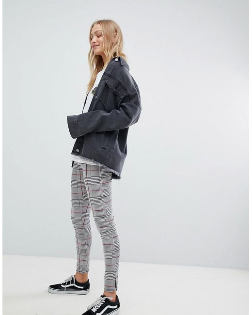 Daisy Street - Gray High Waist Slim Trousers In Check - Lyst