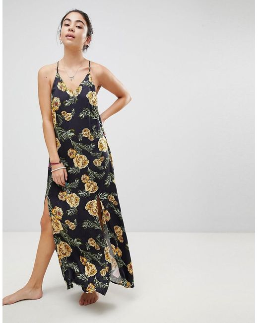 Somedays Lovin - Black River Running Floral Maxi Beach Dress With Side Split - Lyst