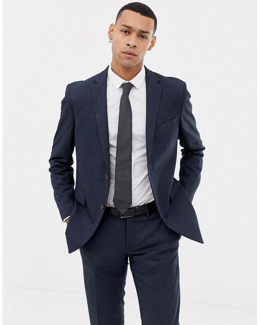 Esprit - Slim Fit Suit Jacket In Blue Twisted Yarn for Men - Lyst