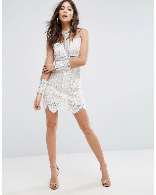 Lace Mesh Sleeve Bodycon Dress - Multi Prettylittlething kcBgI