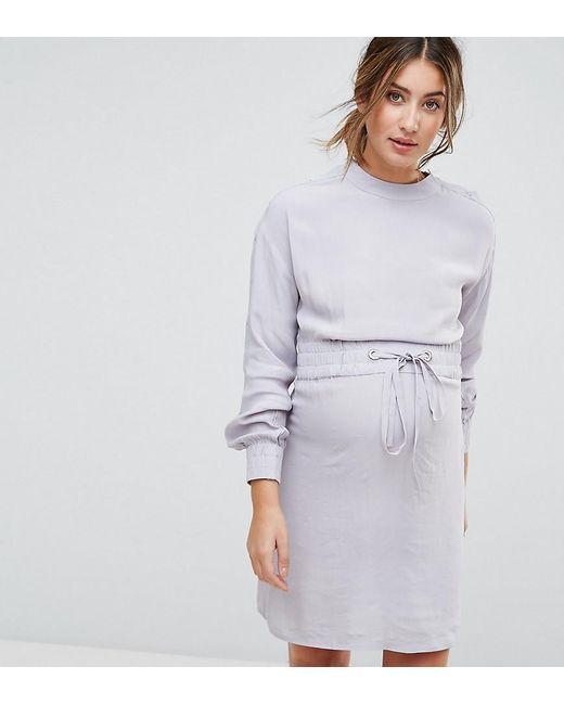 ASOS   Gray Nursing Tie Waist Dress With Popper Detail   Lyst