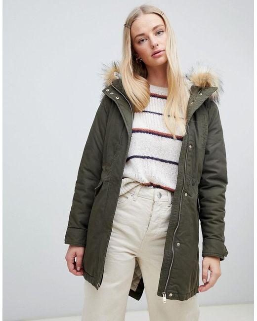New Look - Green Faux Fur Hood Parka - Lyst