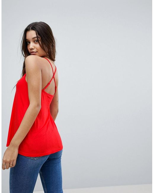 ASOS DESIGN - Red Asos Cami With Cross Straps In Swing Fit - Lyst