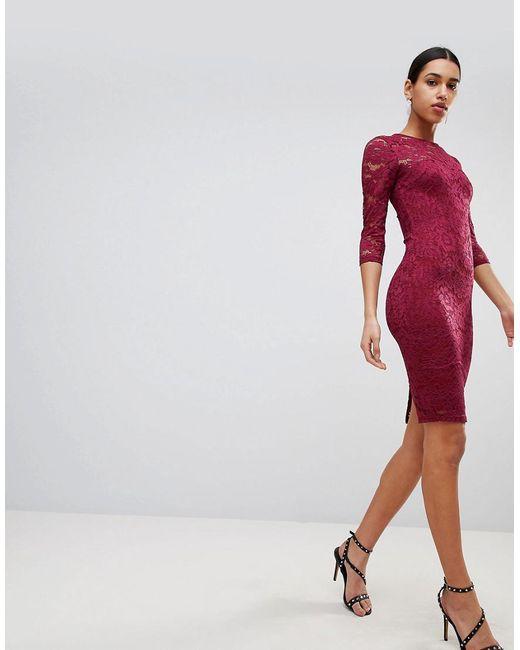 AX Paris - Purple 3/4 Sleeve Lace Midi Dress - Lyst