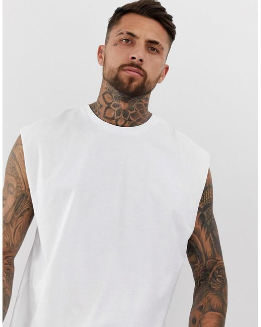 ce6fbf753282 ASOS - Oversized Longline Sleeveless T-shirt In White for Men - Lyst ...
